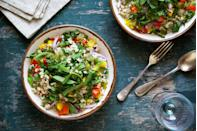 """<p>Adjusting your eats may lead to a few more hungry moments. Aiming for 35 grams or more of fiber can help you feel fuller longer, says <u><a href=""""https://mayabach.com/"""" rel=""""nofollow noopener"""" target=""""_blank"""" data-ylk=""""slk:Maya F. Bach"""" class=""""link rapid-noclick-resp"""">Maya F. Bach</a></u>, MPH, RDN, a registered dietitian nutritionist in Chicago, Illinois.</p><p>""""Dietary fiber promotes positive digestive health by helping to keep us regular. Plus, since fiber-rich take longer to be processed by the body, it will be easier to moderate your appetite and calorie intake,"""" Bach says. </p><p>To amp up your intake, consider:</p><p>● Choose produce with a skin (berries) over produce you peel (banana) </p><p>● Eat a piece of fruit rather than sipping on a juice or <a href=""""https://www.prevention.com/food-nutrition/healthy-eating/g25457855/high-protein-smoothies/"""" rel=""""nofollow noopener"""" target=""""_blank"""" data-ylk=""""slk:smoothie"""" class=""""link rapid-noclick-resp"""">smoothie</a></p><p>● Ask for double veggies at a restaurant instead of veggies and fries</p><p>● Stash oatmeal packets at work for a fast-fix breakfast or snack</p>"""