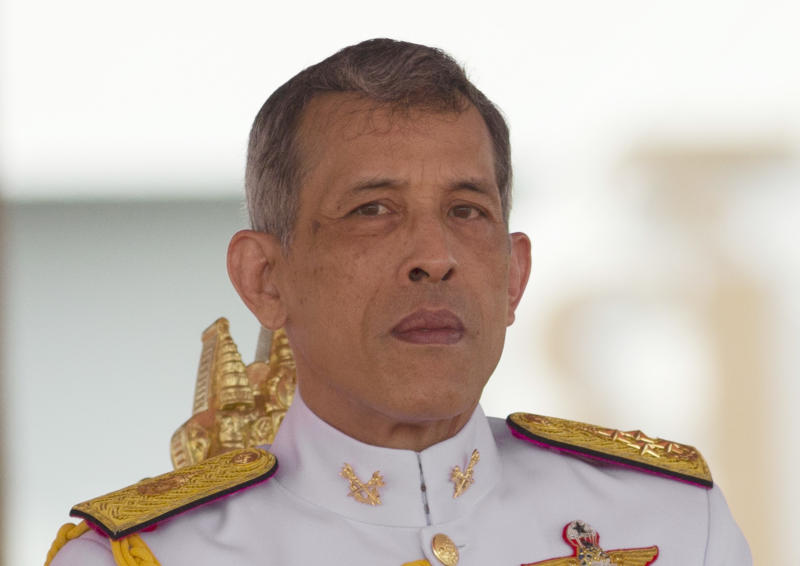 FILE- In this May 12, 2017, file photo, Thailand's King Maha Vajiralongkorn addresses the audience at the royal ceremony in Bangkok, Thailand. Late Friday, Feb. 8, 2019, King Vajiralongkorn issued a decree stating that no member of the royal family should be involved in politics, quashing a bid by his older sister to run for prime minister in next month's elections. (AP Photo/Sakchai Lalit, File)