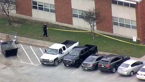 PHOTO: A police officer tapes off a crime scene after reports of a shooting at a residence hall at Texas A&M University's campus in Commerce, Texas, on Feb. 3, 2020. (WFAA)