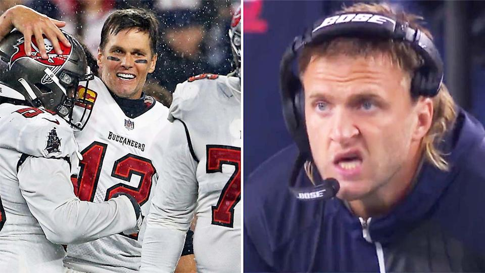 Steve Belichick (pictured right) on the sidelines and (pictured left) Tom Brady embracing his teammates.