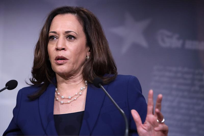 WASHINGTON, DC - JUNE 23: U.S. Sen. Kamala Harris (D-CA) speaks during a news conference following the Democrats weekly policy luncheon at the U.S. Capitol June 23, 2020 in Washington, DC. (Photo by Alex Wong/Getty Images) (Photo: Alex Wong via Getty Images)