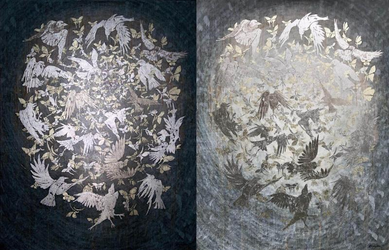Two views: Neil Grayson, 16 Birds (Industrial Melanism), 2017, silver, palladium, white gold, and oil on canvas, 72 x 56 in.