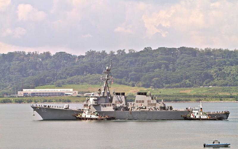 A US ship in Subic Bay, where the incident happened - AFP