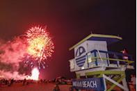 """<p><strong>Miami Beach, <strong>Florida</strong><br></strong><br>Watch the 4th of July fireworks display on <a href=""""https://www.fireworkscalendar.com/miami/#fourth-of-july"""" rel=""""nofollow noopener"""" target=""""_blank"""" data-ylk=""""slk:Miami Beach"""" class=""""link rapid-noclick-resp"""">Miami Beach</a> if you're planning on celebrating in the city.</p>"""