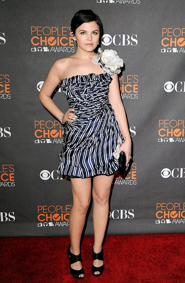 """Big Love's"" Ginnifer Goodwin stopped traffic on the red carpet in this fun striped frock by Christian Lacroix. Steve Granitz/ <a href=""http://www.wireimage.com"" target=""new"">WireImage.com</a> - January 6, 2010"