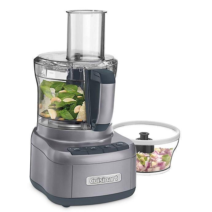 <p>The <span>Cuisinart Elemental 8-Cup Food Processor with 3-Cup Bowl in Gunmetal</span> ($100) is a staple piece for any new cook.</p>