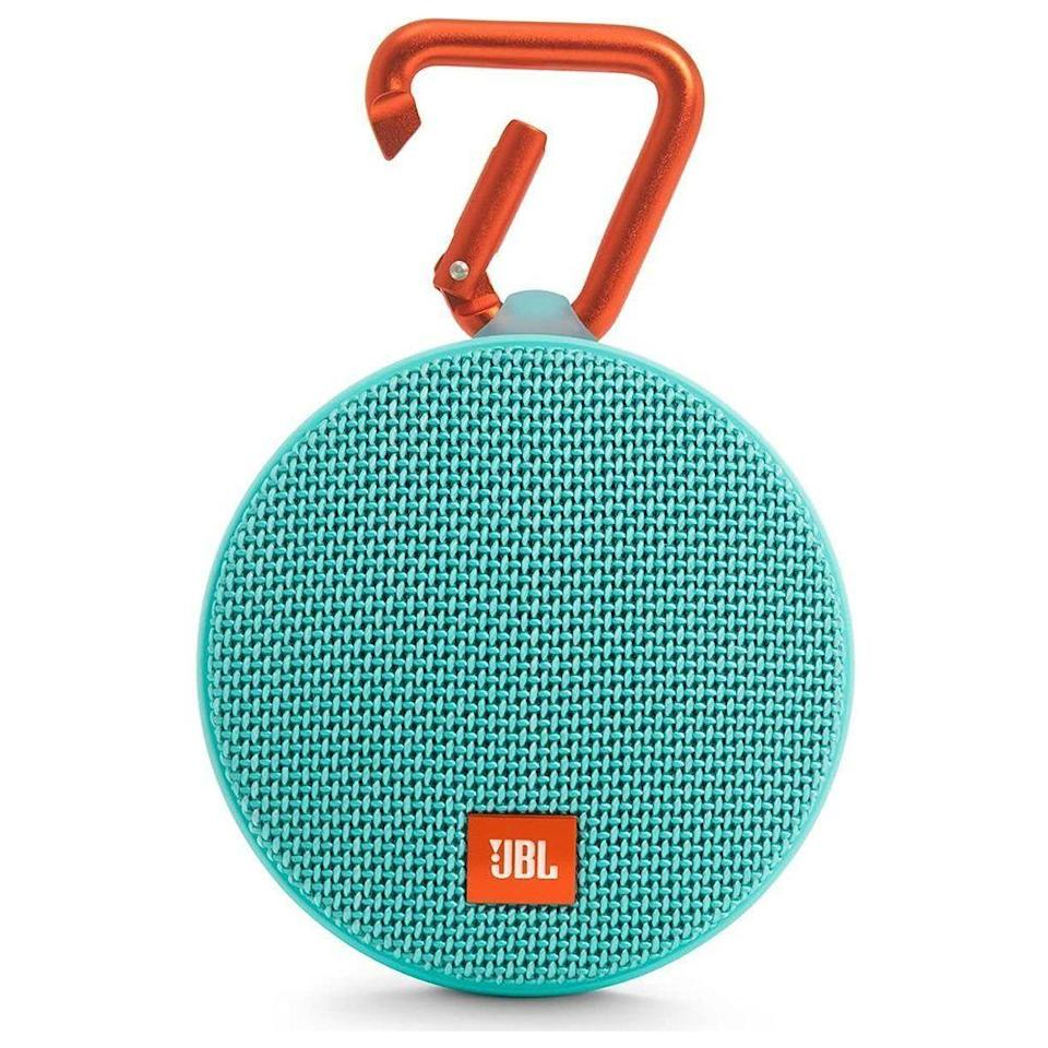 """<p><strong>JBL</strong></p><p>amazon.com</p><p><strong>$53.28</strong></p><p><a href=""""https://www.amazon.com/dp/B01F24RGZK?tag=syn-yahoo-20&ascsubtag=%5Bartid%7C2089.g.291%5Bsrc%7Cyahoo-us"""" rel=""""nofollow noopener"""" target=""""_blank"""" data-ylk=""""slk:Shop Now"""" class=""""link rapid-noclick-resp"""">Shop Now</a></p><p>Got a friend who loves to throw a good party? She doesn't need a big speaker for bigger sound. </p><p>This waterproof speaker from JBL will will keep going for up to 8 hours. It also has NFC connectivity that'll easily pair with compatible devices to make party planning a breeze.</p><p><strong>More:</strong> <a href=""""https://www.bestproducts.com/tech/electronics/a14250893/reviews-top-portable-bluetooth-speakers/"""" rel=""""nofollow noopener"""" target=""""_blank"""" data-ylk=""""slk:Bring the Party Anywhere With These Portable Bluetooth Speakers"""" class=""""link rapid-noclick-resp"""">Bring the Party Anywhere With These Portable Bluetooth Speakers</a></p>"""