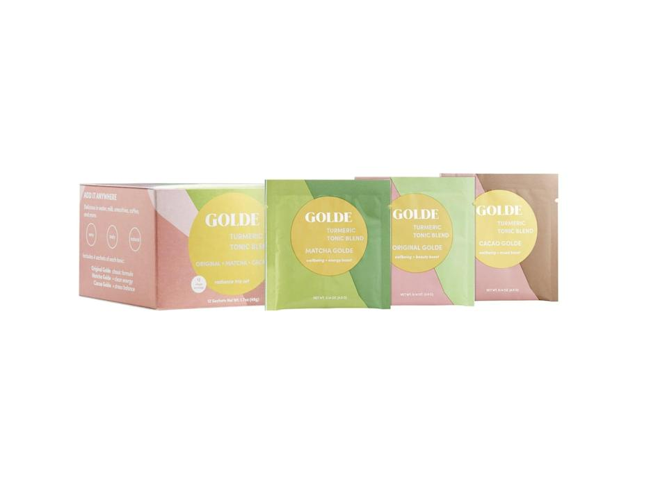 <p>Taking care of yourself from the inside out helps promote a glowing complexion. Stay glowy and gorgeous with the <span>Golde Superfood Latte Sampler</span> ($22) set, which contains a set of turmeric blends that protects your skin's health when consumed.</p>