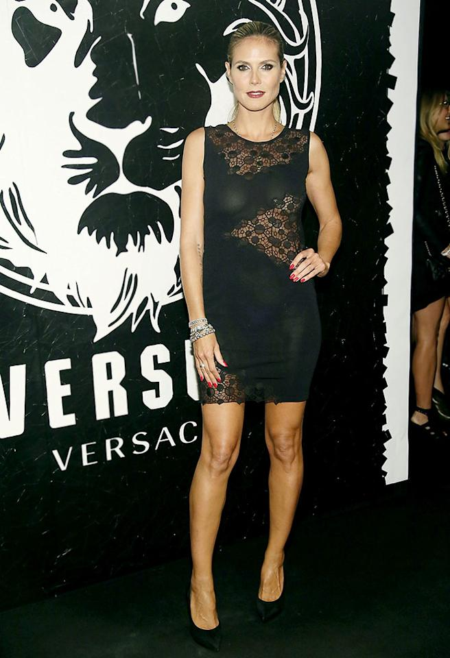 NEW YORK, NY - MAY 15:  Heidi Klum attends the Versus Versace launch hosted by Donatella Versace at the Lexington Avenue Armory on May 15, 2013 in New York City.  (Photo by Astrid Stawiarz/Getty Images)
