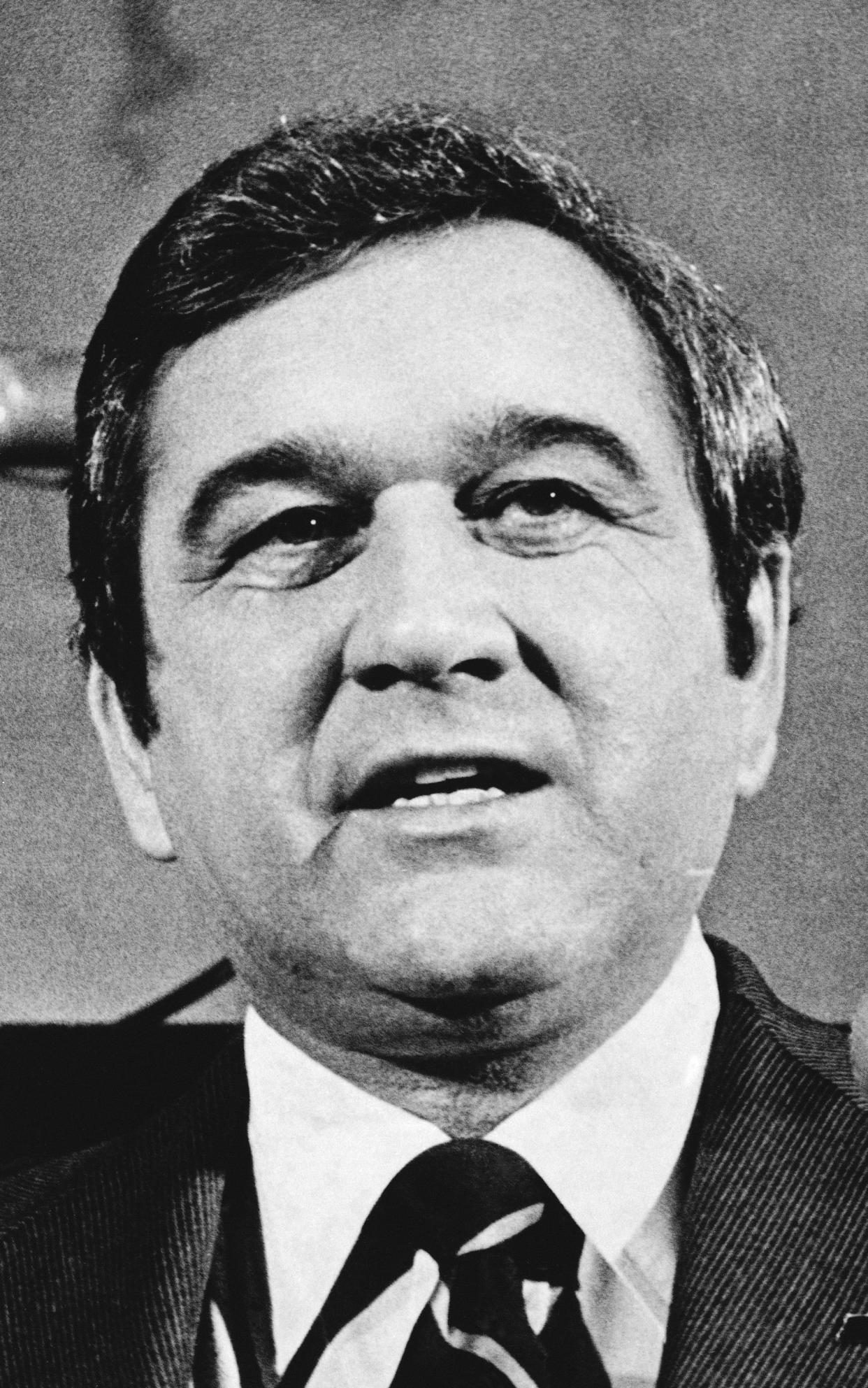 FILE - In this Jan. 11, 1979, file photo, Tennessee Gov. Ray Blanton appears before a joint session to give his final State of the State message in Nashville before leaving office on Jan. 20. Law enforcement officials announced Wednesday, June 9, 20201, the closing a 42-year-old cold case of Samuel Pettyjohn, a Chattanooga businessman who was shot and killed in 1979 in a contract killing that former Gov. Ray Blanton's administration helped pay for. (AP Photo/File)