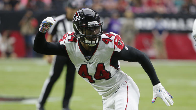 Former Falcons defensive end Vic Beasley has not reported to Titans camp. (AP Photo/Rick Scuteri)