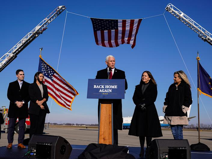 <p>Mike and Karen Pence at the inauguration of Joe Biden and Kamala Harris. </p> (AP)