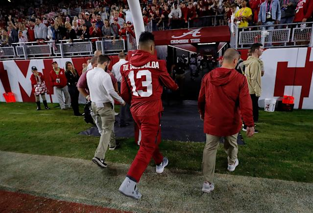 Will Alabama's Tua Tagovailoa become the first Heisman winner since 1993 to miss a game due to injury? (Photo by Kevin C. Cox/Getty Images)
