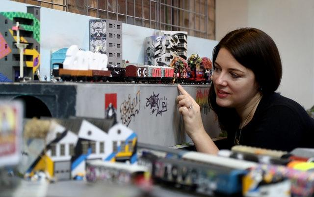 Emily Paxton works on her exhibition