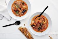 "How to pull off an elegant, effortless date night? Seafood soup. Make the broth for this rich seafood stew recipe the day before, then sear a couple pieces of fish and reheat the stew during the cocktail hour. <a href=""https://www.bonappetit.com/recipe/seafood-stew-for-two?mbid=synd_yahoo_rss"" rel=""nofollow noopener"" target=""_blank"" data-ylk=""slk:See recipe."" class=""link rapid-noclick-resp"">See recipe.</a>"