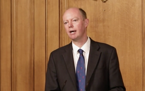 Prof Chris Whitty said ICU admissions are 'heading the wrong way'. (@10DowningStreet/Twitter)