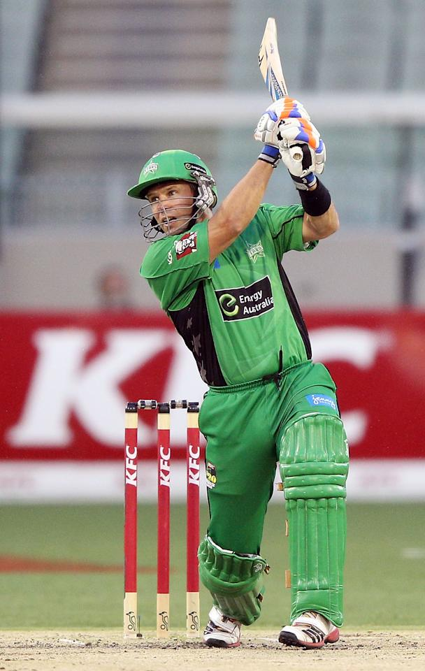 MELBOURNE, AUSTRALIA - JANUARY 08:  Brad Hodge of the Melbourne Stars hits the ball during the Big Bash League match between the Melbourne Stars and the Sydney Thunder at Melbourne Cricket Ground on January 8, 2013 in Melbourne, Australia.  (Photo by Michael Dodge/Getty Images)