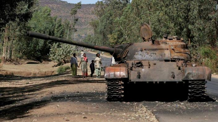 A burned tank stands near the town of Adwa, Tigray region, Ethiopia, March 18, 2021.