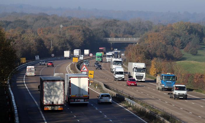 A view of the M20 motorway in Ashford, Kent (PA)