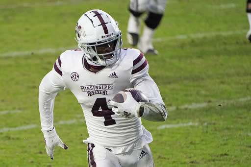 Mississippi State wide receiver Malik Heath runs with a reception for a first down during the second half of the team's NCAA college football game against Mississippi, Saturday, Nov. 28, 2020, in Oxford, Miss. Mississippi won 31-24. (AP Photo/Rogelio V. Solis)