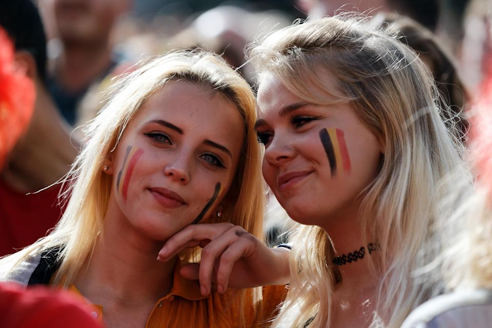 <p>Football fans watch a screen broadcasting of the Group G match of the FIFA World Cup between Belgium and Panama at a viewing party on June 18, 2018 in Tournai, Belgium. (Photo by Sylvain Lefevre/Getty Images) </p>
