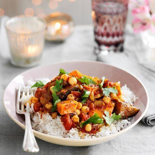 """<p>This flavourful, make-ahead curry will be popular with vegetarian guests and keeps well in the freezer.</p><p><strong>Recipe: <a href=""""https://www.goodhousekeeping.com/uk/food/recipes/a535227/aubergine-chickpea-and-sweet-potato-curry/"""" rel=""""nofollow noopener"""" target=""""_blank"""" data-ylk=""""slk:Aubergine, Chickpea and Sweet Potato Curry"""" class=""""link rapid-noclick-resp"""">Aubergine, Chickpea and Sweet Potato Curry</a></strong></p>"""