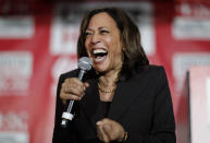 FILE - In this Nov. 8, 2019, file photo, then-Democratic presidential candidate Sen. Kamala Harris, D-Calif., reacts as she speaks at a town hall event at the Culinary Workers Union in Las Vegas. Democratic presidential candidate former Vice President Joe Biden has chosen Harris as his running mate. (AP Photo/John Locher, File)