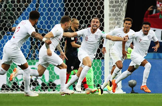 Flying start: Jordan Henderson didn't hold back when England went in front but he didn't have a night to remember