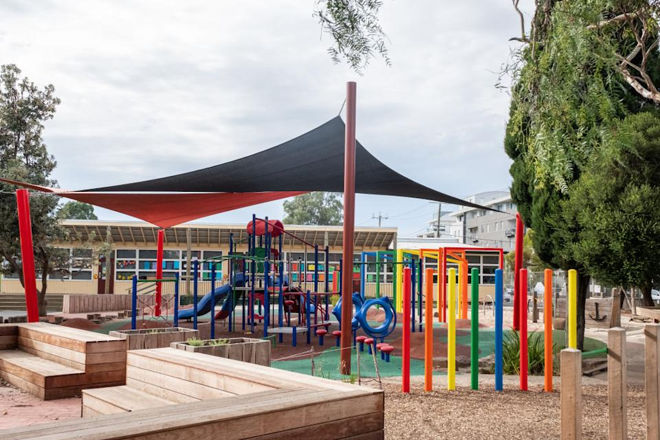 An empty playground is seen at St Kilda primary school in Melbourne.