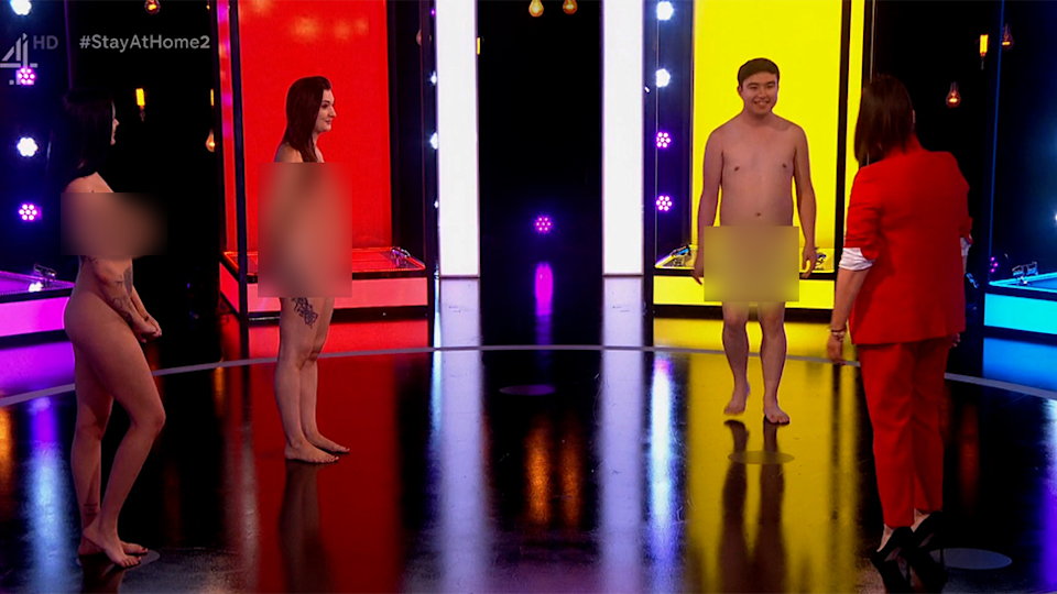 Brian, 23, a virgin is nude with two contestants on Naked Attraction