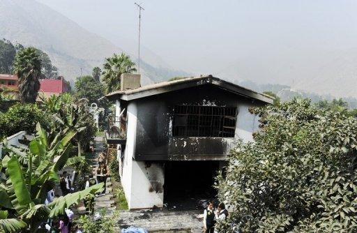 "The burnt building of the ""Sagrado Corazon de Jesus"" rehabilitation centre"