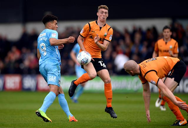 """Soccer Football - League Two - Barnet vs Coventry City - The Hive, London, Britain - October 7, 2017 Coventry City's Max Biamou in action with Barnet's Jack Taylor Action Images/Adam Holt EDITORIAL USE ONLY. No use with unauthorized audio, video, data, fixture lists, club/league logos or """"live"""" services. Online in-match use limited to 75 images, no video emulation. No use in betting, games or single club/league/player publications. Please contact your account representative for further details."""