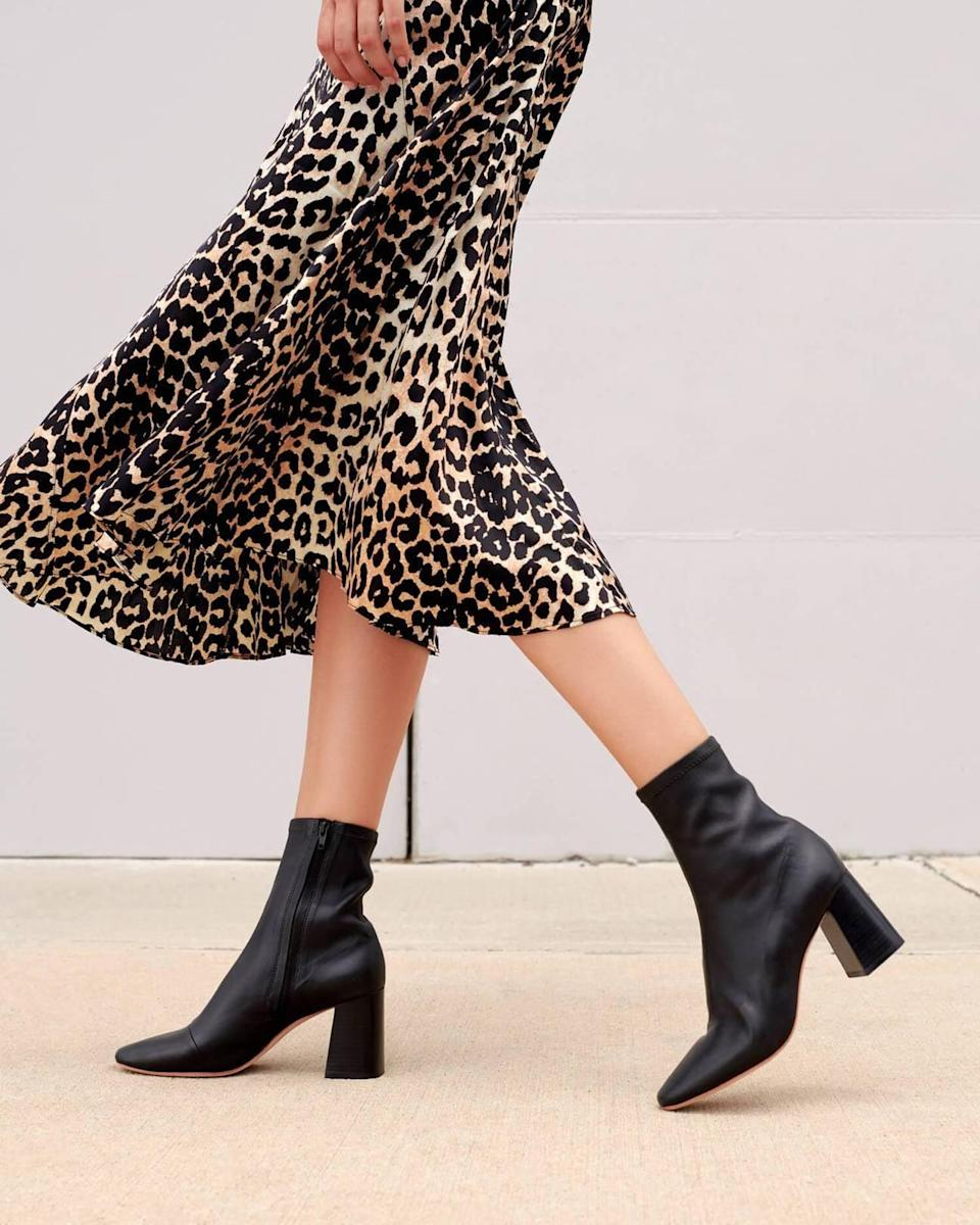 """<p>""""Come fall, my search for the perfect pair of boots commences. After weeks of digging around, I've officially settled on the <span>Loeffler Randall Elise Black Stretch Booties</span> ($395). The sleek look, cool heel, and all-around minimal vibe are exactly what I love. I can already see myself wearing them with dresses and tights or boots and sweaters."""" - KJ</p>"""