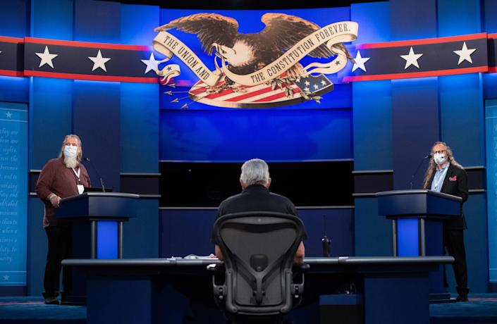 The stage of the first presidential debate as seen Mondya at Case Western Reserve University and the Cleveland Clinic in Cleveland, Ohio.