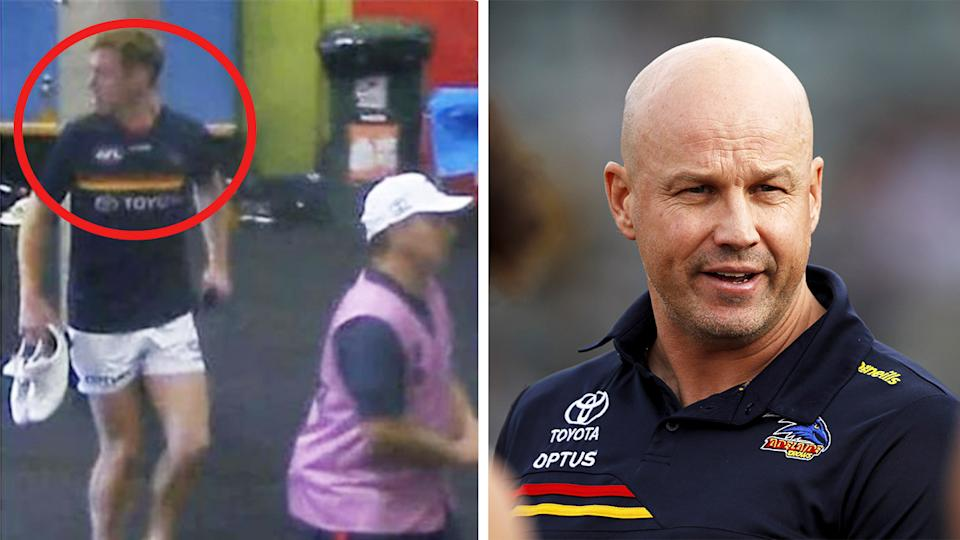 Adelaide Crows coach Matthew Nicks (pictured right) during a match and Tom Lynch (pictured left) getting ready in the locker room footage.