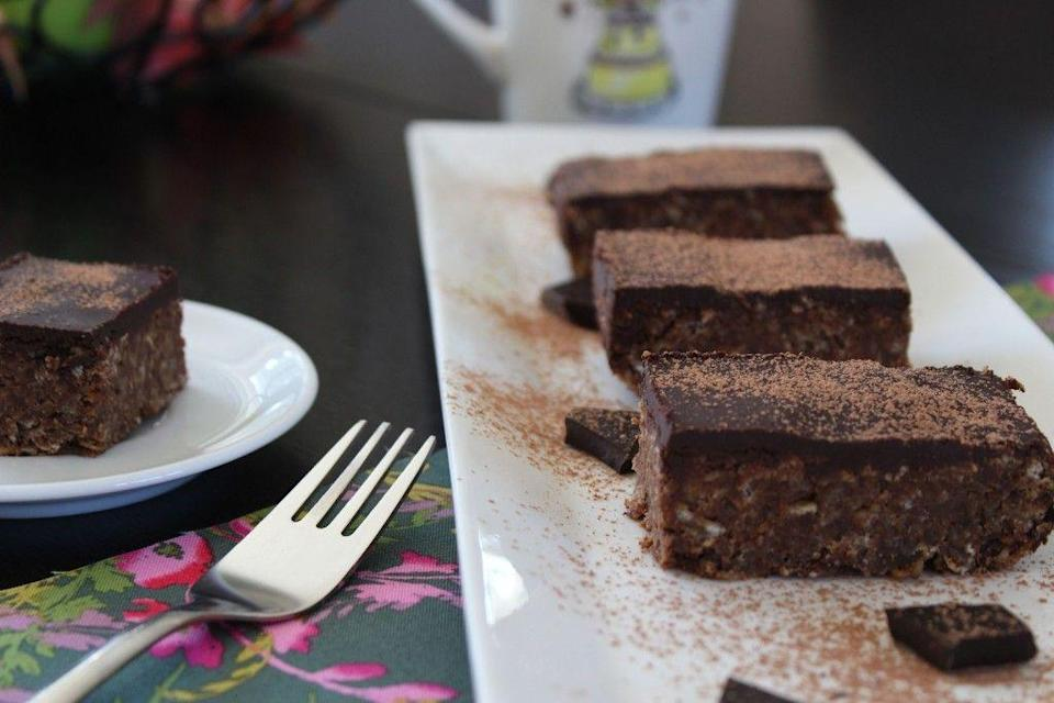 """<p>Nothing beats a good old chocolate flapjack. And this one is even coated in a layer of melted chocolate, yum! It's dense, squidgy and quite frankly delicious to look at.</p><p>Get the <a href=""""https://freefromfairy.com/five-ingredient-chocolate-flapjacks-free-from-refined-sugar/"""" rel=""""nofollow noopener"""" target=""""_blank"""" data-ylk=""""slk:Chocolate Flapjack"""" class=""""link rapid-noclick-resp"""">Chocolate Flapjack</a> recipe.</p><p>Recipe from <a href=""""https://freefromfairy.com/"""" rel=""""nofollow noopener"""" target=""""_blank"""" data-ylk=""""slk:Free From Fairy"""" class=""""link rapid-noclick-resp"""">Free From Fairy</a>.</p>"""
