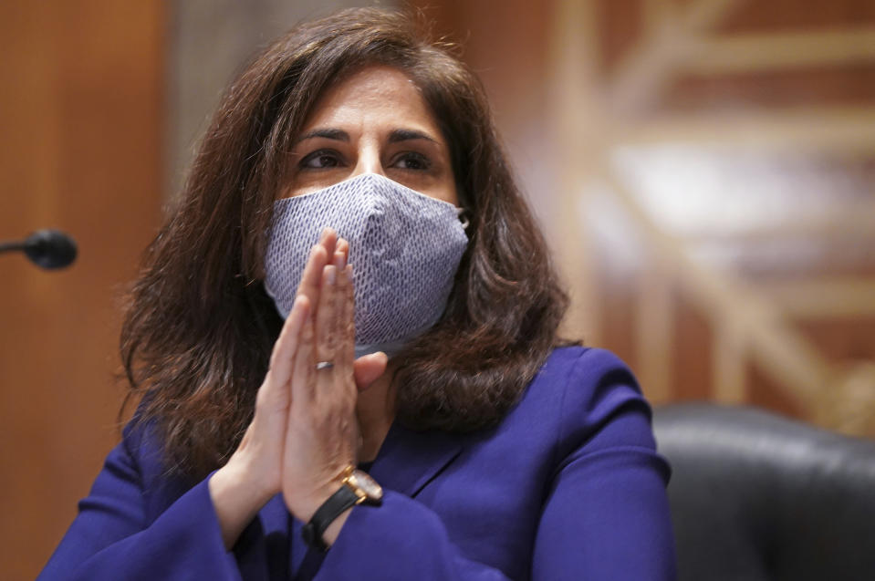 Neera Tanden testifies before the Senate Homeland Security and Government Affairs committee on her nomination to become the Director of the Office of Management and Budget (OMB), during a hearing Tuesday, Feb. 9, 2021 on Capitol Hill in Washington. (Leigh Vogel/Pool via AP)