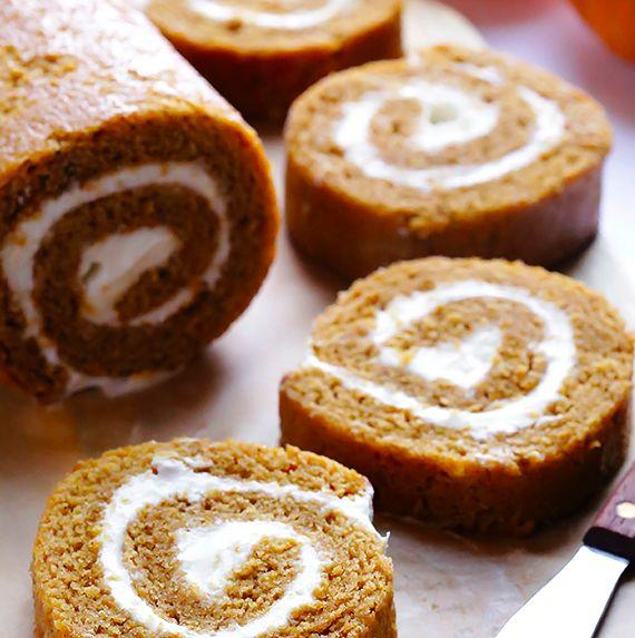 "<strong>Get the <a href=""http://www.gimmesomeoven.com/pumpkin-roll-recipe/"" target=""_blank"">Pumpkin Roll recipe</a> from Gimme Some Oven</strong>"