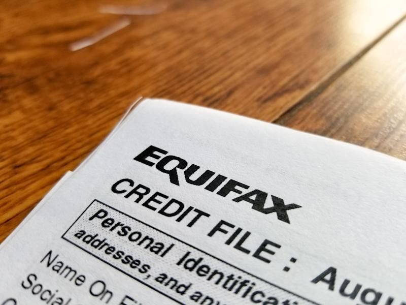 Close-up of the upper corner of a consumer credit report from the credit bureau Equifax. (Photo via Smith Collection/Gado/Getty Images).