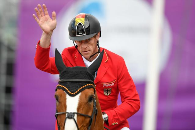 Equestrian - FEI European Championships 2017 - Jumping Individual Final - Ullevi Stadium, Gothenburg, Sweden - August 27, 2017 - Marcus Ehning of Germany on his horse Pret A Tout gestures. TT News Agency/Pontus Lundahl via REUTERS ATTENTION EDITORS - THIS IMAGE WAS PROVIDED BY A THIRD PARTY. SWEDEN OUT. NO COMMERCIAL OR EDITORIAL SALES IN SWEDEN