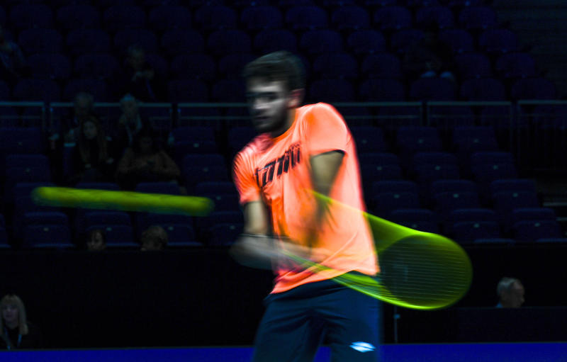 Matteo Berrettini of Italy hits the ball during a training session, prior to his match against Dominic Thiem of Austria, during the ATP World Tour Finals , at the O2 Arena in London, Thursday, Nov. 14, 2019. (AP Photo/Alberto Pezzali)