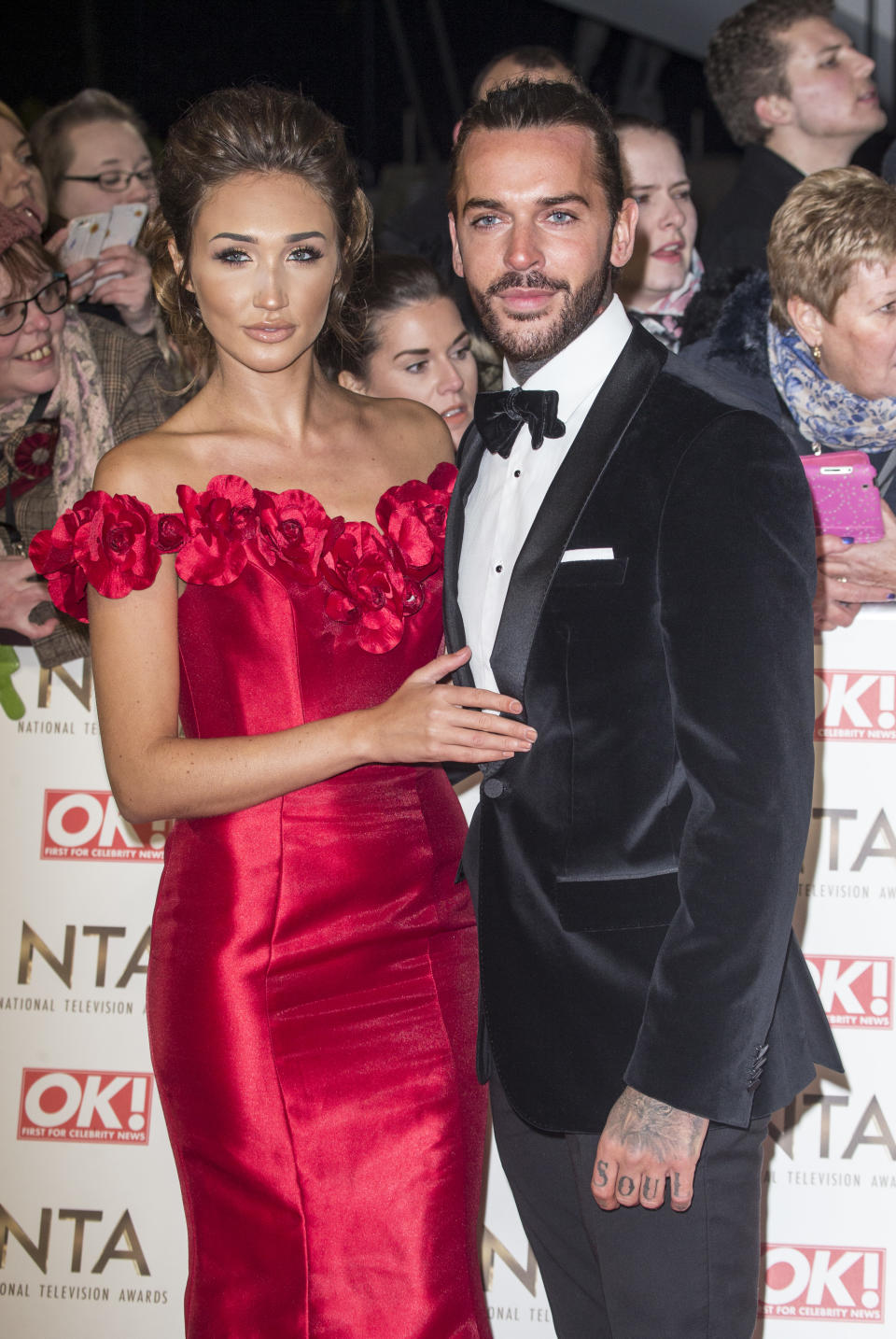 LONDON, ENGLAND - JANUARY 25:   Megan McKenna, and Pete Wicks attend the National Television Awards at The O2 Arena on January 25, 2017 in London, England. .(Photo by Julian Parker/UK Press via Getty Images)