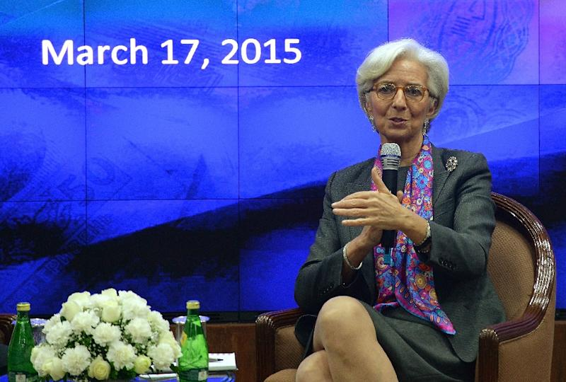 International Monetary Fund chief Christine Lagarde speaks during an discussion panel at the Reserve Bank of India head office in Mumbai on March 17, 2015 (AFP Photo/Punit Paranjpe)