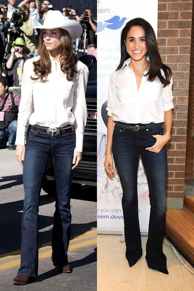 <p>OK, yes, the cowboy look is totally unexpected but also totally perfect in every way. The dark blue flare jeans! The white Oxford shirts! The boots! </p>