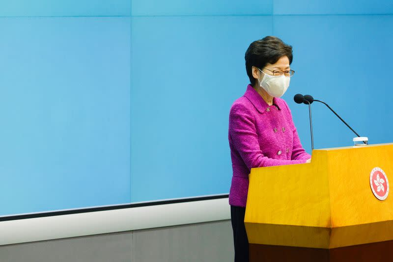 Hong Kong Chief Executive Carrie Lam speaks during a news conference over planned changes to the electoral system, in Hong Kong