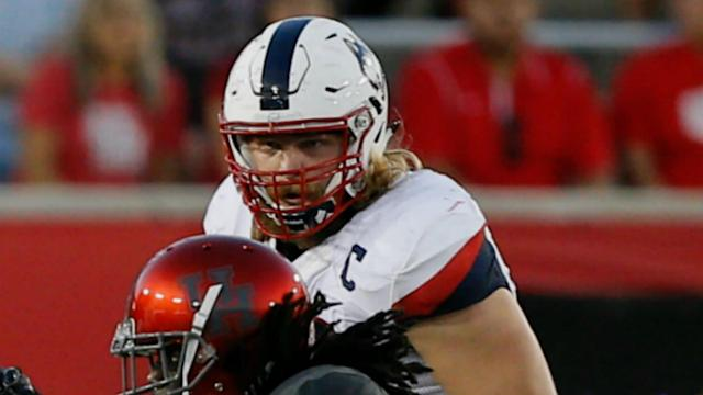 Andreas Knappe started playing football at 18 — in Denmark. After excelling at Connecticut, the offensive lineman has a chance to play stateside long term.
