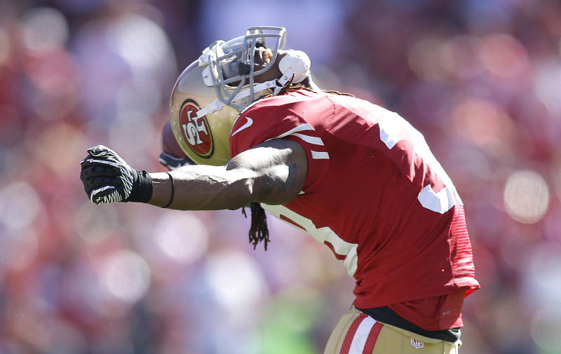 San Francisco 49ers safety Dashon Goldson celebrates after recovering a fumble by Buffalo Bills tight end Scott Chandler during the second quarter of an NFL football game, Sunday, Oct. 7, 2012, in San Francisco. (AP Photo/Ben Margot)