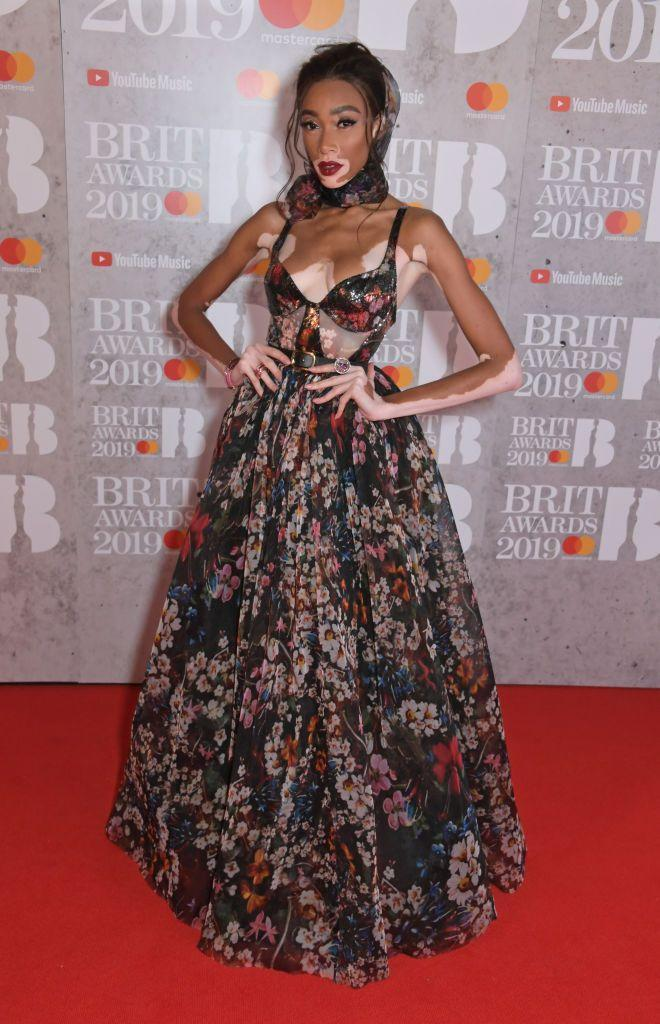 <p>The model made her BRITs debut in 2019, wearing a floral Elie Saab gown, before changing to join Sam Smith to dance on stage.</p>