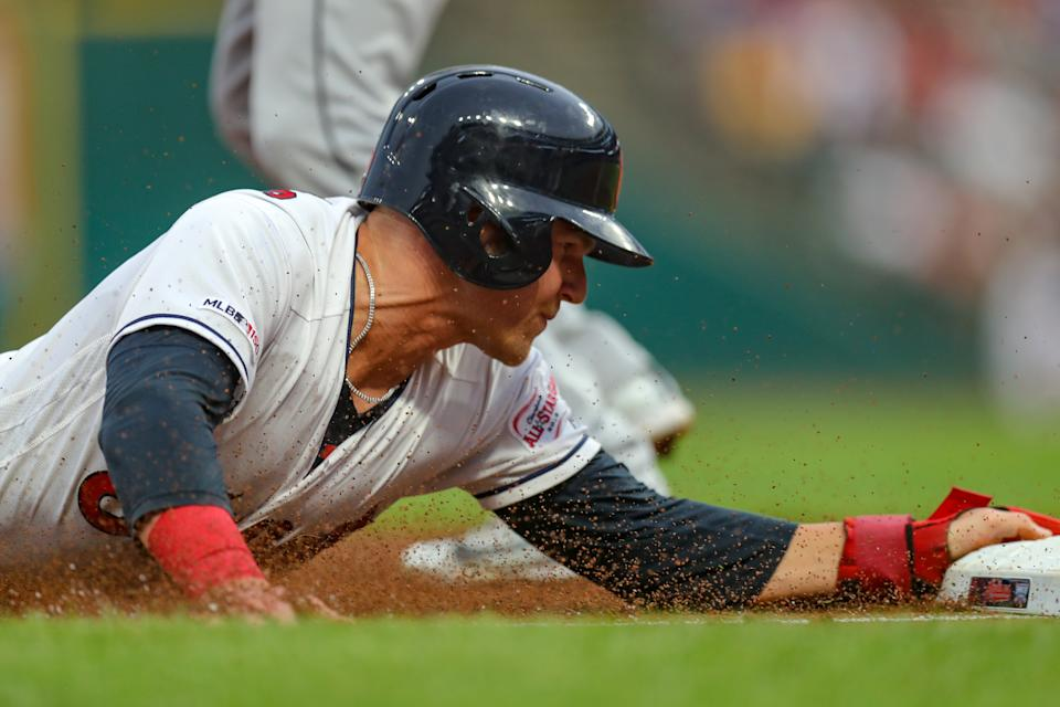 CLEVELAND, OH - JULY 16: Cleveland Indians designated hitter Jake Bauers (10) is safe at third base with a head first slide as he advances from first to third on a single to right field during the second inning of the Major League Baseball game between the Detroit Tigers and Cleveland Indians on July 16, 2019, at Progressive Field in Cleveland, OH. (Photo by Frank Jansky/Icon Sportswire via Getty Images)