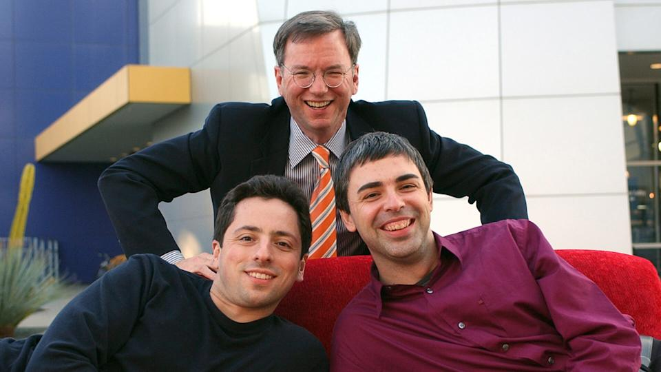 PAGE BRIN SCHMIDT Google CEO Eric Schmidt, top, and co-founders Sergey Brin, left, and Larry Page are seen at company headquarters, in Mountain View, Calif.